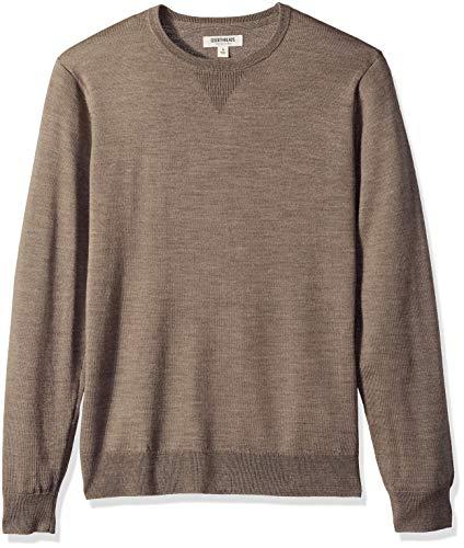 Amazon Brand - Goodthreads Men's Lightweight Merino Wool Crewneck Sweater, Light Brown, Medium
