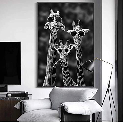 Jirafas con gafas de sol Arte divertido Impresión en lienzo Carteles e impresiones Animales en blanco y negro Pinturas en lienzo en la pared Imágenes artísticas 40 * 60 cm Sin marco