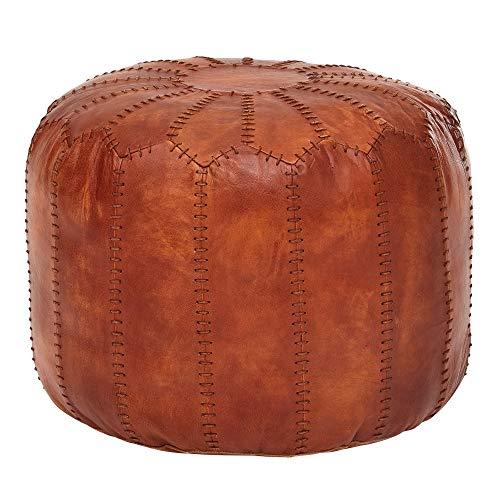 FineBuy Sitzhocker Echtleder Braun 52 x 40 x 52 cm Ottomane Wohnzimmer | Design Pouf Hocker Orientalisch | Polsterhocker Orient Beinablage Sofa