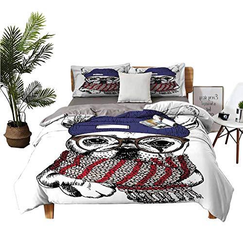 DRAGON VINES Juego de sábanas de cuatro piezas para niños pequeños estilo dibujado a mano retrato de acogedor perro de invierno con bufanda gorro y gafas multicolor apartamento dormitorio W90 xL90