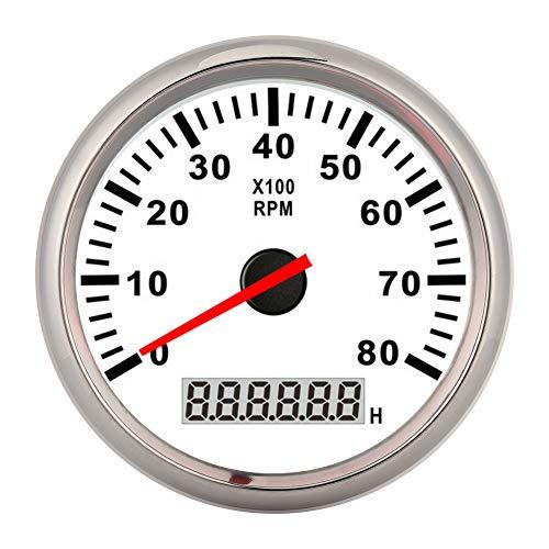 tacómetro digital con puntero de 85 mm, indicador de luz de fondo LED rojo de 8000 RPM, contador de horas marino impermeable para barco de coche de 12 V/24 V(Marco de plata esfera blanca)
