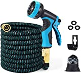 1. EASYHOSE Garden Hose 25FT/50FT/100FT Expandable Water Hose,Flexible Retractable Hose with 10 Function Spray Nozzle,4 Layer Latex and 3/4'' Solid Brass Fitting for Yard Watering Washing 25FT