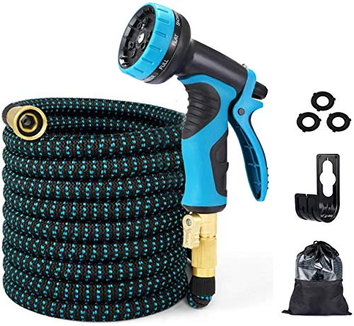 Best retractable hose - EASYHOSE Garden Hose 25FT/50FT/100FT Expandable Water Hose,Flexible Retractable Hose with 10 Function Spray Nozzle,4 Layer Latex and 3/4'' Solid Brass Fitting for Yard Watering Washing 25FT