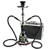 """GStar Convertible Series: 18"""" 1 or 2 Hose Hookah Complete Set w/Case - Majestic Glass Vase (Tuscany Black)"""