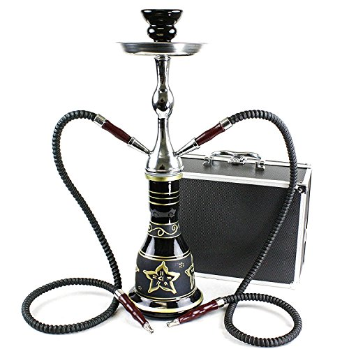 GStar Convertible Series: 18' 1 or 2 Hose Hookah Complete Set w/Case - Majestic Glass Vase (Tuscany Black)