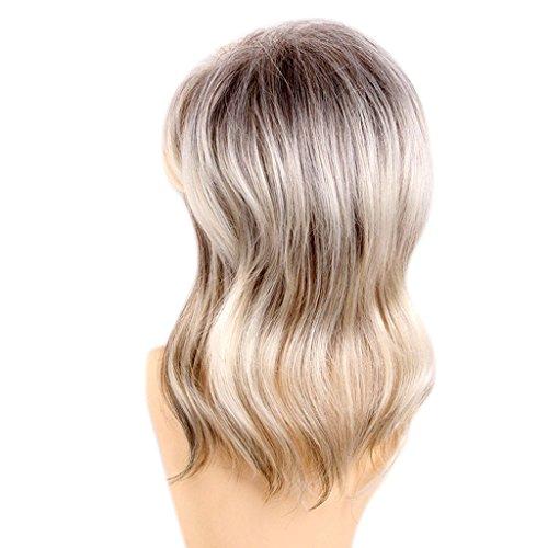Fenteer 15 pouces Perruque Brésilienne Blonde pour Femmes/Filles en Vrai Cheveux 80% vrais cheveux humains + fibre synthétique Longeur Moyenne Bouclée avec Frange pour Cosplay Costume Halloween
