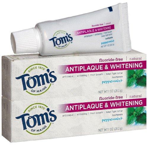 Tom's of Maine Antiplaque Tartar Control plus Whitening Toothpaste Trial Size, Peppermint - 1 oz - 2 pk