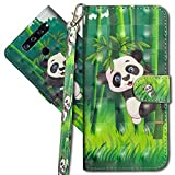 MRSTER LG Q60 Handytasche, Leder Schutzhülle Brieftasche Hülle Flip Hülle 3D Muster Cover mit Kartenfach Magnet Tasche Handyhüllen für LG Q60 / LG K50. YX 3D - Panda Bamboo