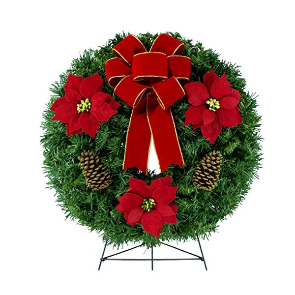 Sympathy Silks Christmas Memorial-Wreath Décor – Red Poinsettias and Pinecones with a Hand-Tied Bow – Artificial Greenery Wreath – Fade Resistant