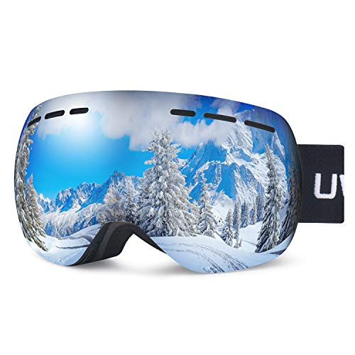 uwyelect Skibrille,Snowboardbrille Rahmenlos Doppellagig Sphärische Abnehmbare Gläser Schneebrille mit Anti-Beschlag UV-Schutz und Anti-Rutsch-Riemen Wintersportspiegel für Erwachsene und Jugendliche