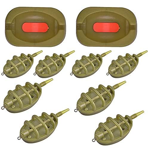 IWILCS 10pcs Angeln Inline Feeder Set, Inline Methode Karpfenangeln Feeder, Karpfenangeln Zubehör mit Easy Release Köderform Karpfen Angelnzubehör, 15 g 20 g 25 g 35 g & 30g 40 g 50 g 60 g