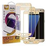 Guran [3 Paquete Protector de Pantalla para Samsung Galaxy S7 Smartphone Cobertura Completa Protección 9H Dureza Alta Definicion Vidrio Templado Película - Dorado
