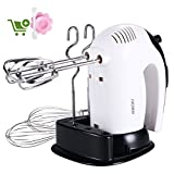Hand Mixer Electric White 300W,SURPEER Hand Beater, Storage Base, 5 Speed Whisk Mixers Kitchen Hand...
