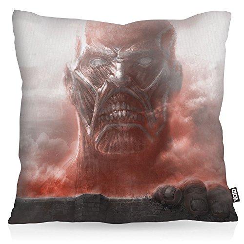 VOID Titan Supremacy Oreiller avec motif taie d'oreiller housse outdoor indoor Titans attaque des aot, Kissen Größe:80 x 80 cm