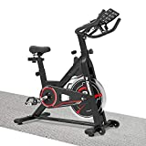 "Exercise Bikes Stationary, Adjustable Indoor Cycling Bike With Comfortable Seat Cushion & 3.12"" Lcd Monitor For Cardio Home Workout"
