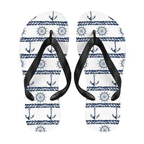 Anchor Flip-Flop Strand Sommer Hausschuhe Custom Haus Schuhe Sandalen für Damen Herren Nautische Retro Bicolor Streifen, Weiß - Nauti9 - Größe: Small