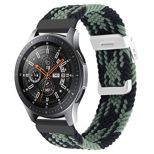 Vozehui Kompatibel mit Samsung Gear S3 Frontier/Galaxy Watch 3 45mm/Galaxy Watch 46mm Armband, 22mm elastisch Einstellbar Nylon Sport Ersatzband für Huawei Watch GT/GT2 46mm Band, Damen Herren