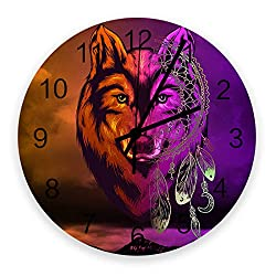 Wooden Round Wall Clock 12'' Silent Battery Operated Non Ticking Clock, Gradient Wolf Pattern Dream Catcher Tribal Symbol Noiseless Office Kitchen Bedroom Wall Clock Home Decor
