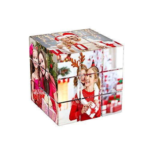 Benutzerdefinierte 9 Photo Cube für Bilderrahmen Rubik's Cube Multi Picture Frame Fotoblock Personalisiertes Fotopuzzle Benutzerdefinierte Fotorahmen Collage Home Office Schreibtisch Dekor Geschenke