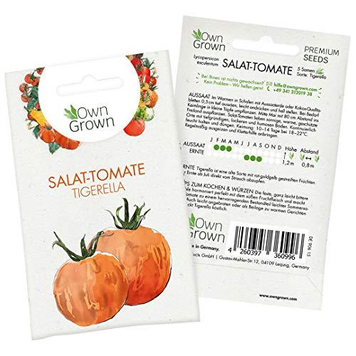 Tomatensamen Gestreifte Salattomate Tigerella: Premium Tomaten Samen zum einfachen Anbau von Tomatenpflanzen, Alte Tomatensorten Samen Tigerella für Balkon und Garten – 5 Gemüse Samen von OwnGrown