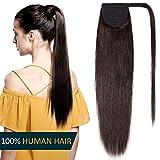 20' Queue de Cheval Cheveux Naturel - Extension Postiche 100% Vrai Cheveux Humain Rajout Lisse - Attaché par Bande Agrippantes Adhésives - #2 CHATAIN FONCE - 50cm