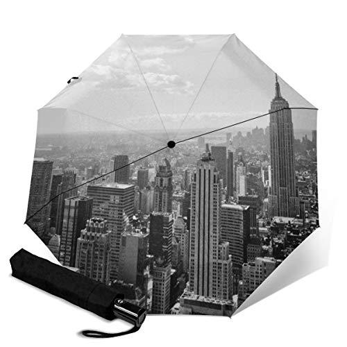 Paraguas de Viaje de Secado rápido, Marco Reforzado Resistente al Viento, Apertura y Cierre automático, Mango Antideslizante para fácil Transporte, New York Skyline