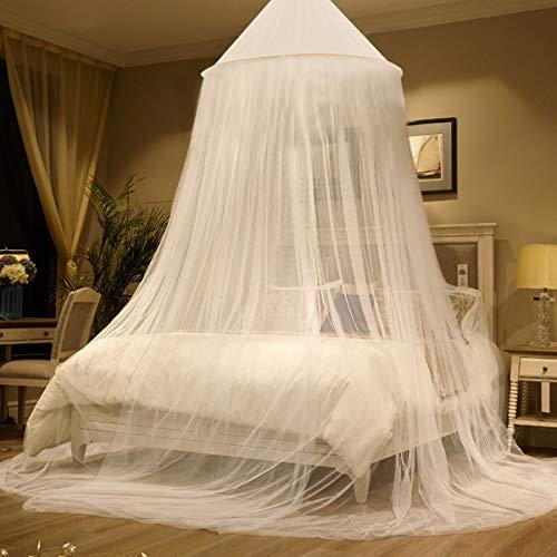 Zubita Moskitonetz Bett, Großes Mückennetz für Einzel/Doppelbett rundes Netz Vorhang vor Insekten und Mücken, für Reisen/Zuhause/Kinderbett/Camping