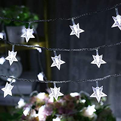 Twinkle Star 100 LED 49 FT Star String Lights, Plug in Fairy String Lights Waterproof, Extendable for Indoor, Outdoor, Wedding Party, Christmas Tree, New Year, Garden Decoration, White