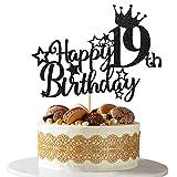 Ushinemi 19th Birthday Cake Topper - 19 Brithday Decorations for men women 5.9x4.75 inch, Glitter Black