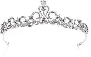 LUCKYYY Copricapo da Sposa in Lega di zircone fine Accessori da Sposa Corona 14,5 x 3,5 cm
