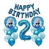 ZJWDM 1Set Boss Baby Aluminum Balloon, Dibujos Animados De Globos De Aluminio Populares, Suministros para Fiestas De Cumpleaños para Niños, Niño Niña, Primer Juguete De Cumpleaños 2