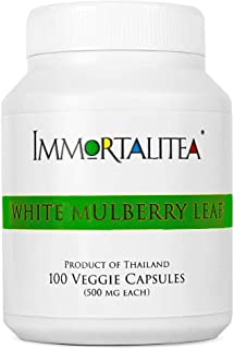 Immortalitea White Mulberry Leaf Capsules (No Extracts or Fillers, Non-GMO, Gluten Free) High & Low Blood Sugar Control, Weight Loss Support - Money Back Guarantee 1000mg 100 Vegan Caps