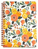 Steel Mill & Co Cute Mini Spiral Notebook, 8.25' x 6.25' Journal with Durable Hardcover and 160 Lined Pages, Orange Floral