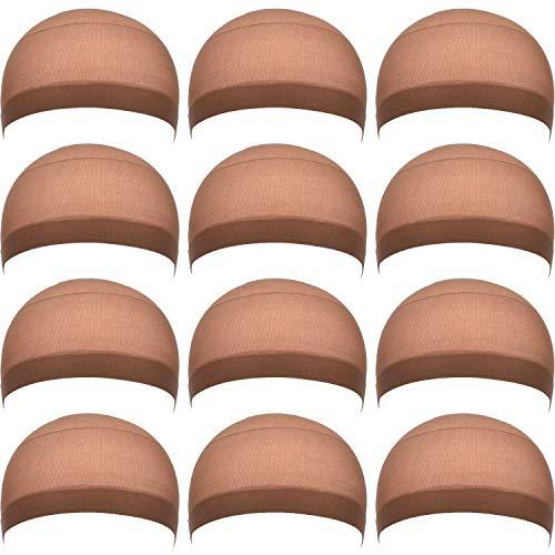 EBOOT 12 Pack Nylon Wig Caps for Women and Men (Light Brown)