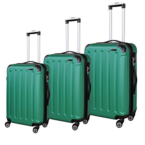 Hochwertiges 3 Teiliges Reise Kofferset Trolley ABS Hartschale in 12 Farben (Grün)