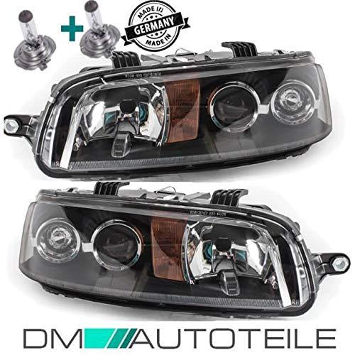 DM Autoteile Punto 188 Scheinwerfer Rechts Links H7/H7 schwarz 99-01+Birnen ohne Nebel