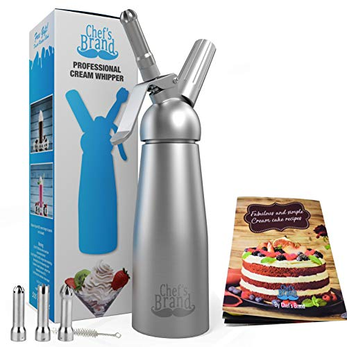 Whipped Cream Dispensers - Comes with 3 Stainless Steel Decorating Nozzles/A fancy Booklet of 100...