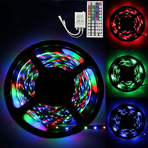 Ridkodg 202 New Year Led Outdoor Christmas Lights, 5M RGB 3528 300 Led Durable Led Strips Bright Light Lamps String Lights - 44 Key Ir Remote Controller