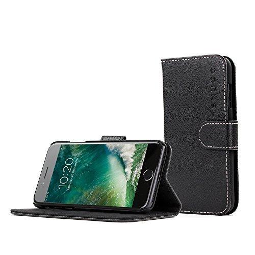 Snugg Schutzhülle für iPhone SE (2020) 7/8 – Etui aus Leder mit Kartenschlitzen & Ständer – Legacy-Kollektion, Flipcase, Handyhülle in Schwarz