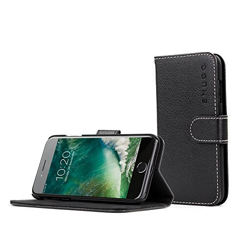 Custodia per Iphone 7, Snugg Apple iPhone 7,a portafoglio, con portacarte, in pelle, serie Legacy, Similpelle, Black, iPhone 7 Flip Case