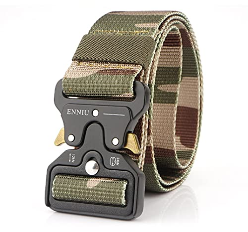 Hefujufang Men's Tactical Belt Military Camouflage Style Nylon Belts Webbing Belt with Heavy-Duty Quick-Release Buckle (Prairie camouflage)
