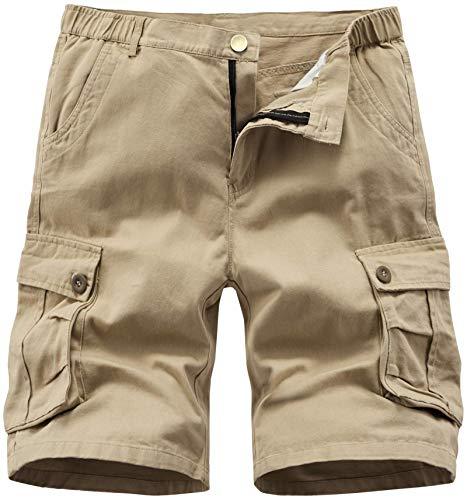 Vcansion Men's Cargo Shorts Casual Cotton Multi-Pockets Elastic Waist Camo Shorts Khaki US 38