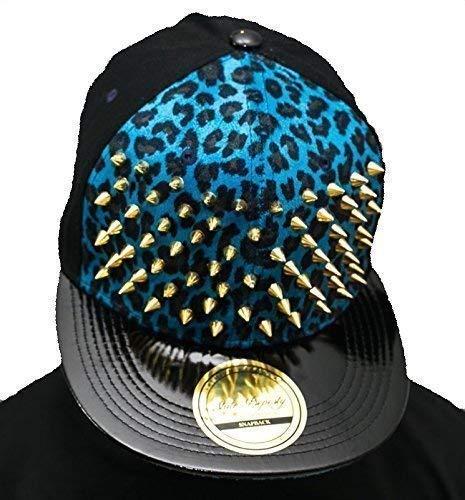 Avec strass Motif clouté Bleu SP Casquette de baseball à visière plate or-collection Chapeau