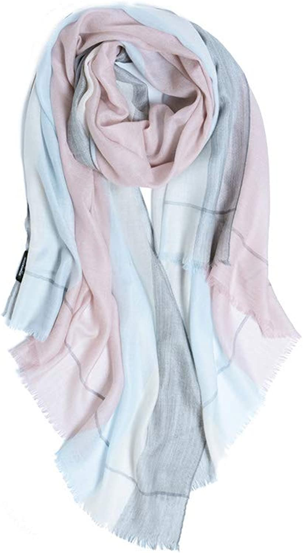 JUN Contrast color Cashmere Scarf Female New Wild Oversized Shawl Dual Purpose (color   B)