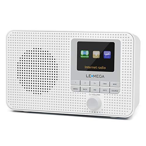 LEMEGA IR1 Portable Internet Radio,FM Digital Radio,WiFi,Bluetooth,Dual Alarms&Clock,Kitchen/Sleep/Snooze Timer,40 Pre-Sets,Headphones Output,Colour Screen,Mains Powered and AA Batteries - White