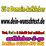 40cm, 25 Stück Domainaufkleber, Text & Farbe frei wählbar, www.dein-wunschtext.de