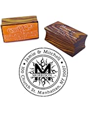Personalized Wood Mounted Rubber Logo Stamp Custom Round Address Stamp Engagement Gift