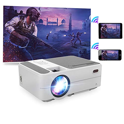Wireless Airplay Portable Projector 3800lumen 2020 Upgrade 720p LED HD Home Movie Projectors Mini for Smartphone/iPhone HDMI USB Audio VGA Compatible with TV Stick PS4 DVD