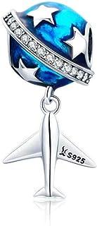 Ciondolo in argento Sterling 925, adatto per braccialetti o braccialetti fai da te spaziali, da viaggio, aereo, blu, terr...