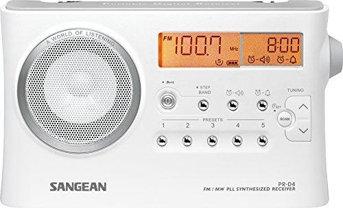 Sangean PR-D4 tragbares Radio (MW / UKW-Tuner, Kopfhöreranschluss, Wecker mit Dual Alarm, Netz / Batteriebetrieb) weiß